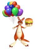 Personaje de dibujos animados del canguro con la hamburguesa y el baloon Imagenes de archivo