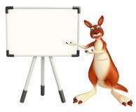 Personaje de dibujos animados del canguro con la tablilla de anuncios stock de ilustración