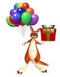 Personaje de dibujos animados del canguro de la diversión con el giftbox y el baloon Foto de archivo