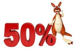 Personaje de dibujos animados del canguro de la diversión con la muestra del 50% ilustración del vector