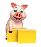 personaje de dibujos animados del cerdo de la diversión con la carpeta Fotografía de archivo