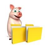 personaje de dibujos animados del cerdo de la diversión con la carpeta Fotografía de archivo libre de regalías