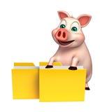 personaje de dibujos animados del cerdo de la diversión con la carpeta Foto de archivo