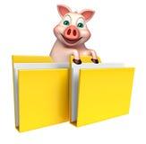 personaje de dibujos animados del cerdo de la diversión con la carpeta Imagen de archivo libre de regalías