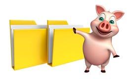 personaje de dibujos animados del cerdo de la diversión con la carpeta Fotos de archivo