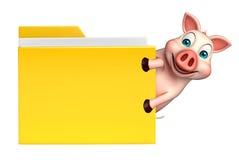 personaje de dibujos animados del cerdo de la diversión con la carpeta Imagen de archivo