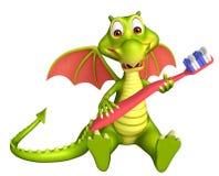 Personaje de dibujos animados del dragón de la diversión con el cepillo de dientes Imagen de archivo libre de regalías