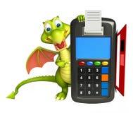 Personaje de dibujos animados del dragón de la diversión con la máquina del intercambio Fotografía de archivo libre de regalías