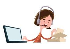Personaje de dibujos animados del ejemplo del empleado del trabajo del oficinista que habla Imágenes de archivo libres de regalías