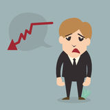 Personaje de dibujos animados del fall del hombre de negocios Fotografía de archivo libre de regalías