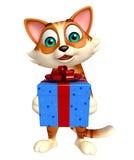 Personaje de dibujos animados del gato de la diversión con la caja de regalo Imagenes de archivo