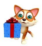 Personaje de dibujos animados del gato de la diversión con la caja de regalo Fotos de archivo