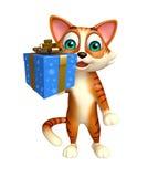 Personaje de dibujos animados del gato de la diversión con la caja de regalo Imagen de archivo libre de regalías