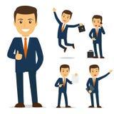 Personaje de dibujos animados del hombre de negocios Fotos de archivo