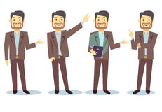 Personaje de dibujos animados del hombre de negocios en diversas actitudes para el sistema del vector de la presentación del nego Imagen de archivo libre de regalías