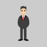 Personaje de dibujos animados del hombre de negocios A mano Foto de archivo