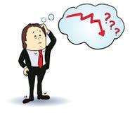 Personaje de dibujos animados del hombre de negocios Pensamiento alrededor Imagenes de archivo
