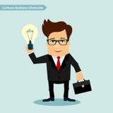 Personaje de dibujos animados del hombre de negocios que celebra el ejemplo del vector del símbolo de la lámpara de la idea Fotografía de archivo