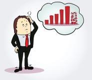 Personaje de dibujos animados del hombre de negocios y del diagrama Persona Imagenes de archivo