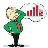 Personaje de dibujos animados del hombre de negocios y del diagrama Persona Imágenes de archivo libres de regalías