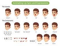 Personaje de dibujos animados del hombre para la sincronizaci?n y las expresiones de animaci?n de labio stock de ilustración