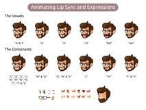 Personaje de dibujos animados del hombre para la sincronizaci?n y las expresiones de animaci?n de labio ilustración del vector