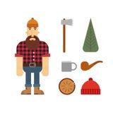Personaje de dibujos animados del leñador con los iconos del leñador Imagen de archivo libre de regalías