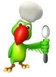 Personaje de dibujos animados del loro con el sombrero de la cuchara y del cocinero Fotografía de archivo libre de regalías