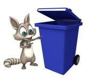 Personaje de dibujos animados del mapache con el cubo de basura Fotografía de archivo
