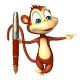 Personaje de dibujos animados del mono de la diversión con la pluma Fotografía de archivo