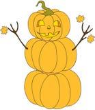 Personaje de dibujos animados del muñeco de nieve de la calabaza de Halloween Imágenes de archivo libres de regalías