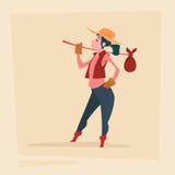 Personaje de dibujos animados del negocio de Country Woman Agriculture del granjero Stock de ilustración