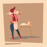 Personaje de dibujos animados del negocio de Country Woman Agriculture del granjero Foto de archivo