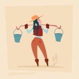 Personaje de dibujos animados del negocio de Country Woman Agriculture del granjero Imágenes de archivo libres de regalías