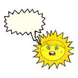 personaje de dibujos animados del sol con la burbuja del discurso Fotografía de archivo