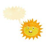 personaje de dibujos animados del sol con la burbuja del discurso Imágenes de archivo libres de regalías