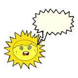 personaje de dibujos animados del sol con la burbuja del discurso Imagen de archivo