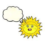 personaje de dibujos animados del sol con la burbuja del pensamiento Fotografía de archivo libre de regalías