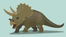 Personaje de dibujos animados del Triceratops del dinosaurio Ejemplo realista del diseño del lagarto marrón prehistórico salvaje stock de ilustración