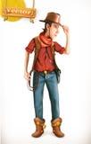 Personaje de dibujos animados del vaquero icono del vector 3d stock de ilustración