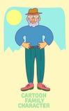 Personaje de dibujos animados del viejo hombre del vector Fotos de archivo libres de regalías