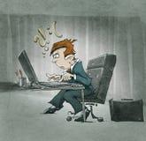 Personaje de dibujos animados desesperado en el ordenador Imagen de archivo