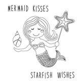 Personaje de dibujos animados dibujado mano infantil linda de la pequeña sirena con las estrellas de mar del mar, cáscara como pá libre illustration