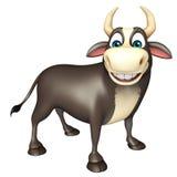 Personaje de dibujos animados divertido de Bull Stock de ilustración