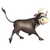 Personaje de dibujos animados divertido de Bull Imágenes de archivo libres de regalías