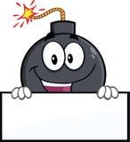 Personaje de dibujos animados divertido de la bomba que sostiene una bandera Imagen de archivo libre de regalías
