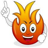 Personaje de dibujos animados divertido de la llama del fuego ilustración del vector