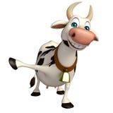 Personaje de dibujos animados divertido de la vaca de la diversión Stock de ilustración