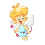 Personaje de dibujos animados divertido del cupido con el arco y la flecha Ejemplo del vector para el día del ` s de la tarjeta d foto de archivo