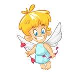 Personaje de dibujos animados divertido del cupido con el arco y la flecha Ejemplo del vector para el día del ` s de la tarjeta d imágenes de archivo libres de regalías